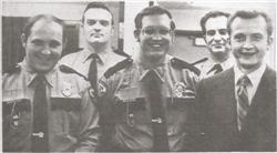 Five of the original members of the department - Curt Oberlander, Les Bridger, Bill Blake, Jack Hacking and Keith Wall. Not pictured - Bruce Wojack