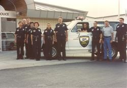 1983 - Reserve Officers in front of the new Police Department building at 7900 Mitchell Road.