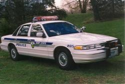 Blue and white squad car used in the 1980s.