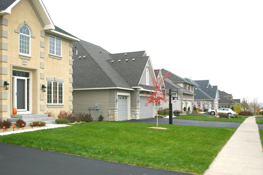 Row of homes in neighborhood