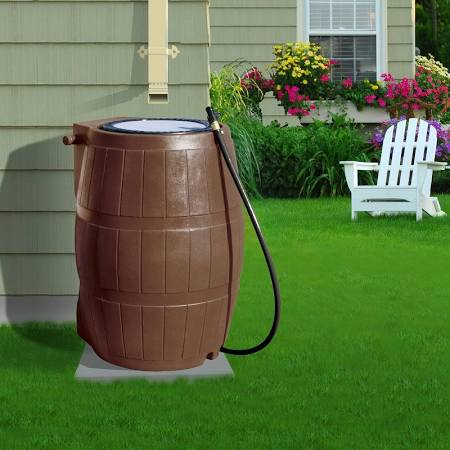 Rain Barrel on green lawn