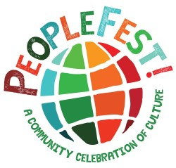 PeopleFest! text with multi-colored globe beneath it and tagline