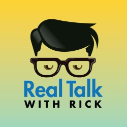 "Icon with hair, glasses and eyes. ""Real Talk with Rick"" text sits below glasses."