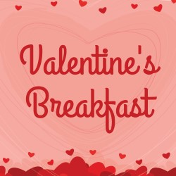 Valentine's Breakfast logo with hearts