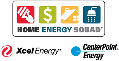 Home Energy Squad graphic with light bulb, dollar sign, house and shower icons. Xcel Energy and Centerpoint Energy logos.
