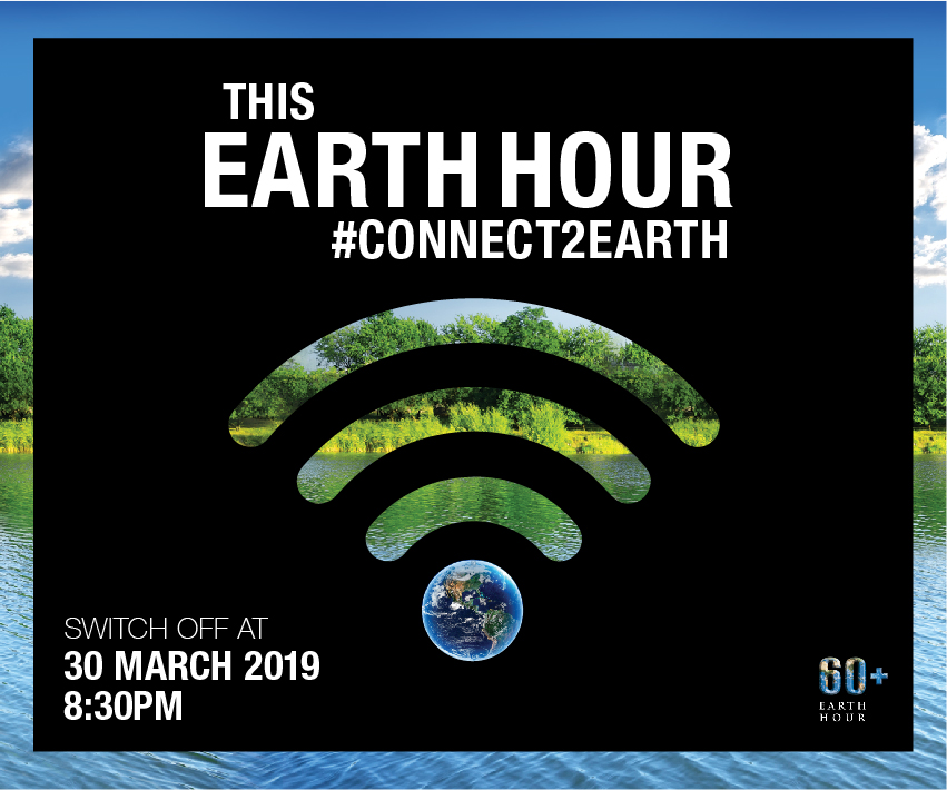 This Earth Hour #connect2earth. Switch off March 30, 2019 at 8:30 0m. 60+ Earth Hour.