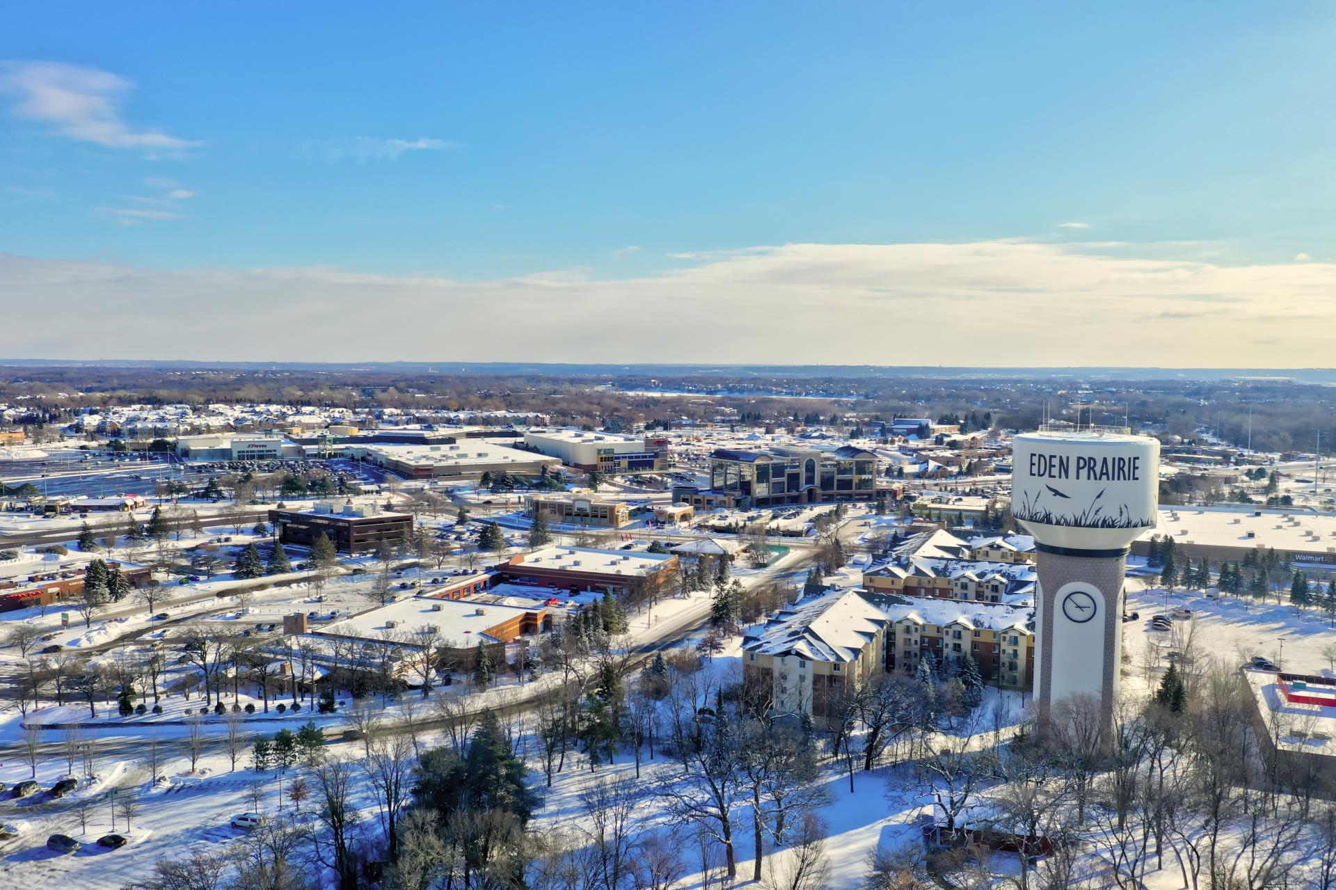 Eden Prairie Aerial View with Water Tower